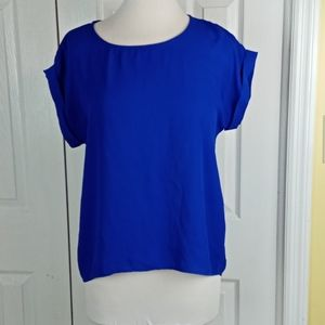 4/$25 Poetry sheer blue blouse with cuffed sleeves